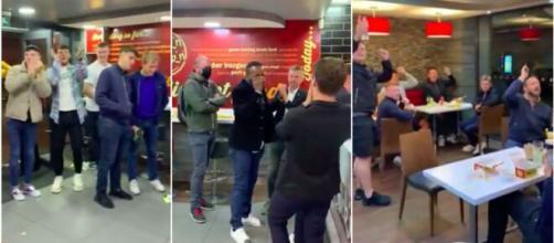 Sidney Govou reconnu jusqu'à un fast-food de Belfast - Source : captures d'écran vidéo Twitter et montage