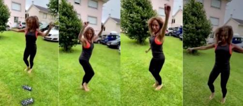 La felicidad de María Patiño durante su danza de muñeiras. (Instagram @mariapatino1508)