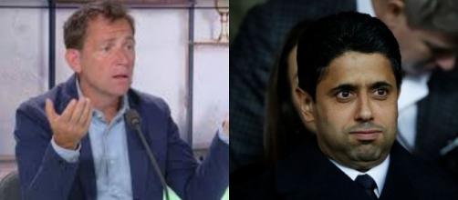 Daniel Riolo dézingue Nasser Al-Khelaïfi et le PSG (montage photo et capture Youtube)