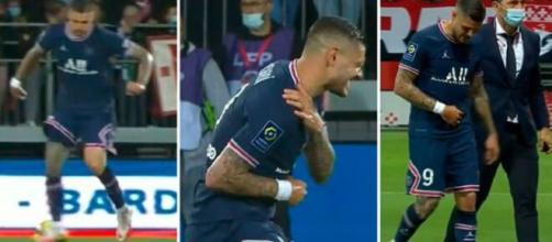 La chute et la blessure d'Icardi contre Brest (capture Youtube et montage photo)