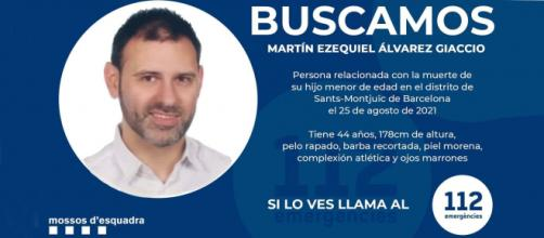 Los Mossos d' Esquadra difunden el rostro del presunto asesino del niño en el hotel de Barcelona. (Twitter @mossos)