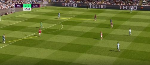 Le pressing inexistant d'Arsenal contre Manchester City (Source : capture Youtube)