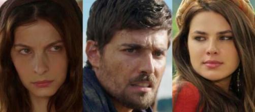 Lia, Jacó e Raquel em 'Gênesis'. (Fotomontagem)