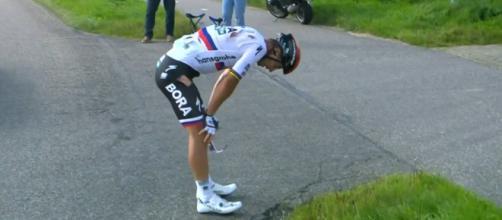 Peter Sagan dopo la caduta al Benelux Tour.