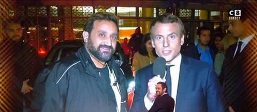 Emmanuel Macron grimé par Michel-Ange Flori et le présentateur de TPMP Cyril Hanouna. Source : Capture d'écran C8.