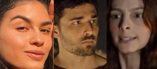 Bila, Jacó e Lia em 'Gênesis' (Fotomontagem/Reprodução/Record TV)