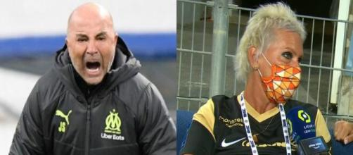 Jorge Sampaoli insulte une supportrice de Montpellier (Source : montage photo et capture Youtube)