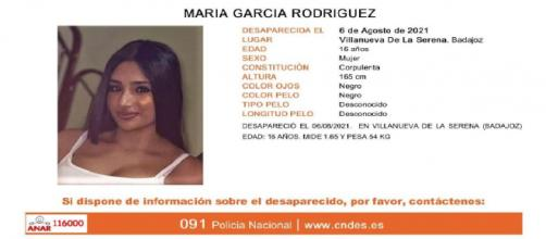 María García Rodríguez la menor desaparecida que la policía busca sin parar ( CNDE )