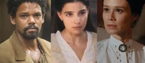 Samuel, Pilar e Luísa em 'Nos Tempos do Imperador'. (Fotomontagem)