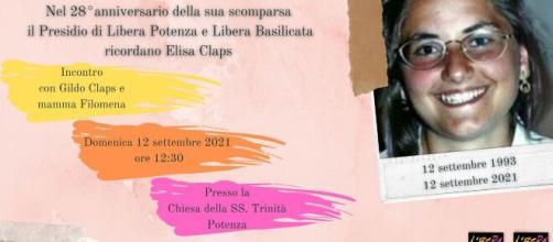 Elisa Claps, oggi, nell'anniversario della scomparsa avvenuta 28 anni fa, a Potenza iniziativa per ricordarla.