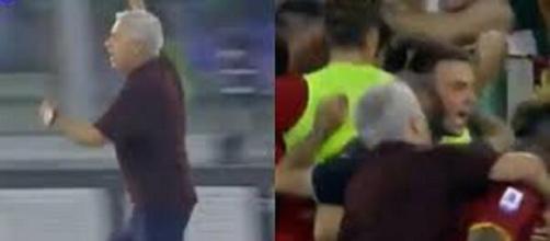 José Mourinho devient 'fou' et célèbre le but victorieux d'El Shaarawy (capture Youtube et montage photo)