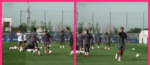 La réaction de Messi après le petit pont de Paredes sur Nuno Mendes (capture YouTube)