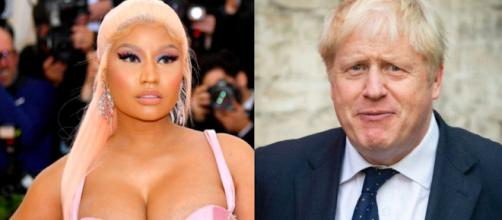 Nicki Minaj a sinistra, Boris Jhonson a destra.