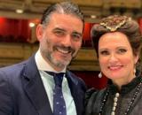Matías Urrea y Ainhoa Arteta en el Teatro Real en septiembre de 2019 (Instagram @matias_urrea_c)
