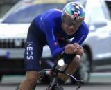 Filippo Ganna impegnato ai Campionati Mondiali dello scorso anno.