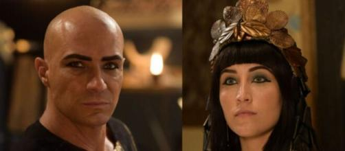 Shesi e Merianat em 'Gênesis' (Fotomontagem/Reprodução/Record TV)