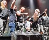 Sabaton (and a 9-year-old fan named Julian, who they plucked from the crowd) take a bow after a job well done (Image source: Thomas M. Arnott)