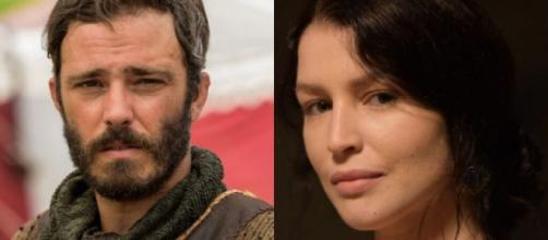 Judá e Muriel em 'Gênesis' (Fotomontagem/Reprodução/Record TV)