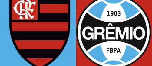Saiba onde acompanhar Flamengo x Grêmio ao vivo (arte Eduardo Gouvea).