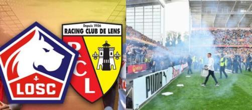 Salut nazi chez des supporters de Lille à Lens (capture YouTube et montage photo)