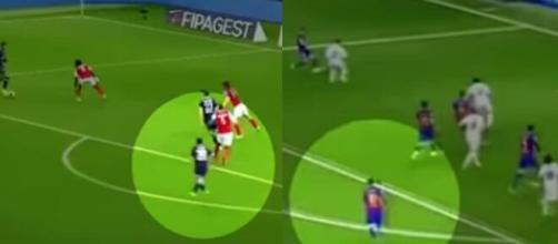 L'incroyable action 'copier-coller' de Messi à deux ans et demi d'intervalle (captures YouTube)