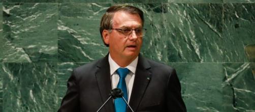 Bolsonaro durante pronunciamento na abertura da 76ª sessão da Assembleia Geral da ONU (Alan Santos/PR)
