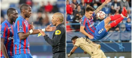 Caen s'est vu refuser injustement deux buts - Source : montage, Instagram @smcaen