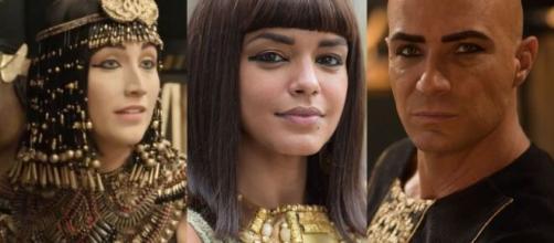 Kamesha atrapalhará a relação do faraó com a primeira esposa em 'Gênesis' (Fotomontagem/Reprodução/Record TV)