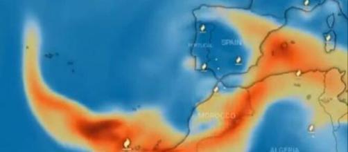 Nube de azufre avanzando hasta la Península (Programa Copernicus)