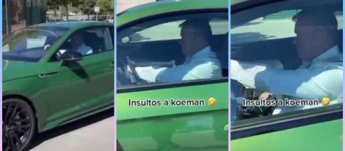 Un supporter prend à partie Koeman dans sa voiture (capture YouTube et montage photo)