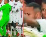 La tête de Kylian Mbappé quand Oukidja vient le chercher (capture YouTube et montage photo)