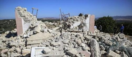 A Greek Orthodox church was destroyed when a earthquake struck the hamlet of Arkalochori on the Greek island of Crete (Image source: BBC)