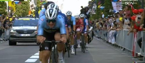 Remco Evenepoel impegnato ai Mondiali di ciclismo di Leuven.