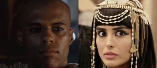 Abumani e Asenate em 'Gênesis' (Fotomontagem/Reprodução/Record TV)