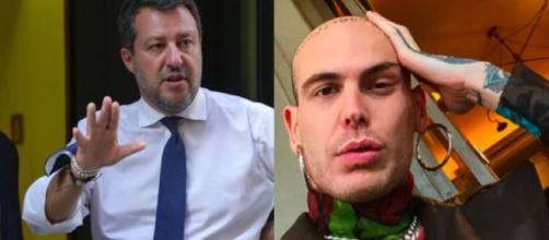 Matteo Salvini a sinistra, Gemitaiz a destra.