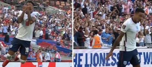 Jesse Lingard célèbre son but comme Cristiano Ronaldo (capture YouTube et montage photo)