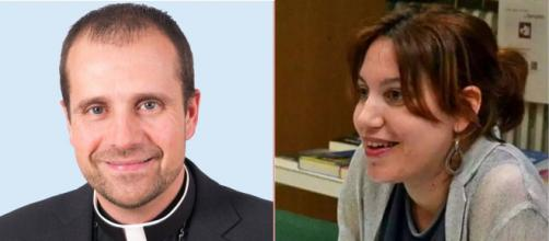 El obispo Xavier Novell y la escritora Silvia Caballol (Wikimedia Commons)