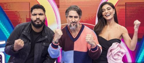 Marcos Mion estreia programa com Juliana Paes e Paulo Vieira (Reprodução/TV Globo)