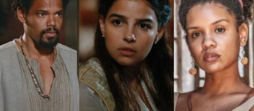 Samuel, Pilar e Zayla em 'Nos Tempos do Imperador' (Fotomontagem/Reprodução/TV Globo)