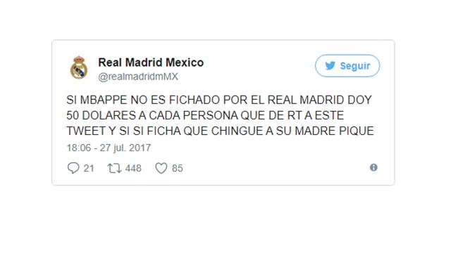 Un tuitero mexicano ofrece 50 dólares por retuit si el Madrid no ficha a Mbappé