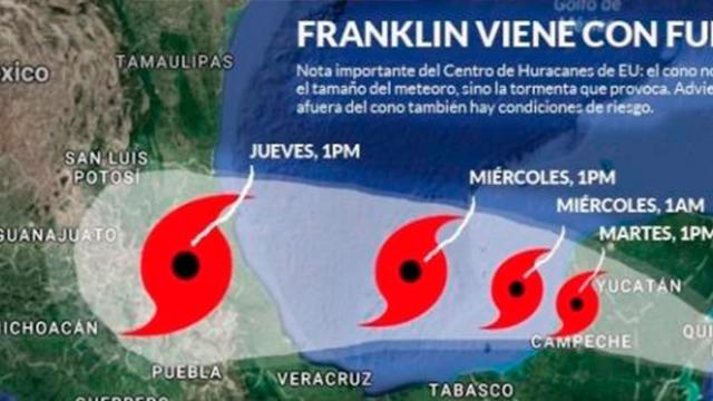 Franklin puede llegar a ser huracán en el Golfo de México, alertan autoridades