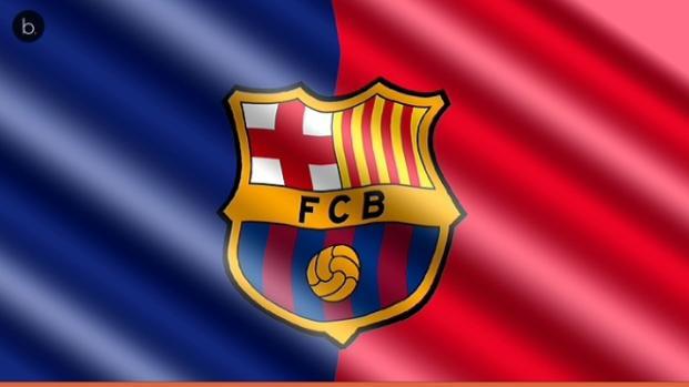 El escudo del Barça está en una vidriera de Santa María del Mar en Barcelona