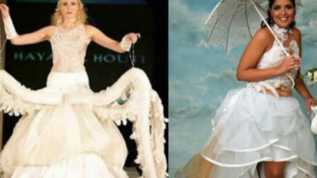 10 vestidos de noiva tão bizarros que fariam os futuros maridos saírem correndo