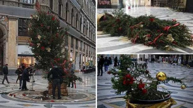 Albero di Natale a Napoli preda di vandali per tre volte