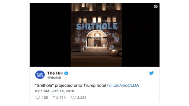 Trump hotel trolled with 'sh*thole' projection, poop emojis during epic prank