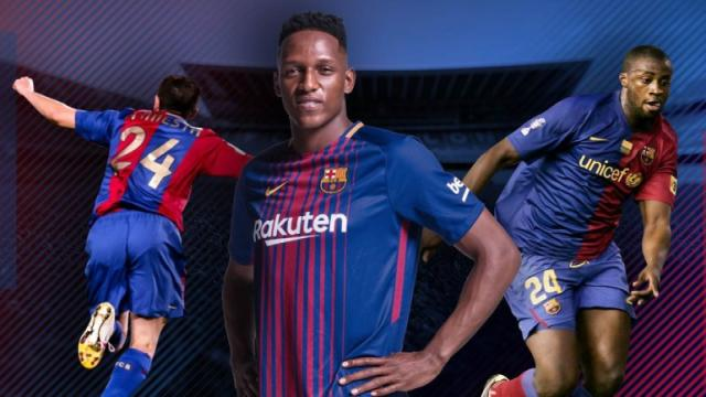 Oficial: Yerry Mina se le entregó la camiseta número 24 en el Barça