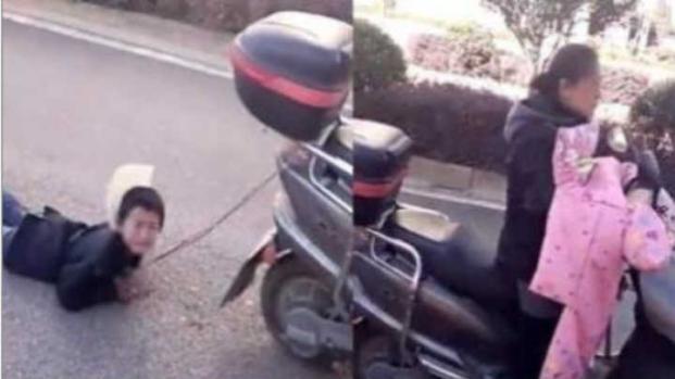 Vídeo: mãe arrasta filho amarrado na moto