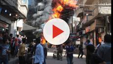 Guerra de Siria daños a los ataques aéreos turcos en el antiguo templo de Afrin