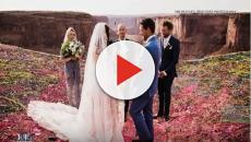 California couple marries 400 feet above canyon and wedding goes viral.