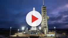 Il Falcon Heavy sulla rampa di lancio